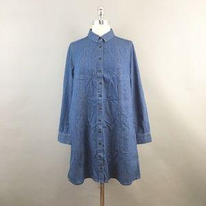Madewell denim A-Line button down shirt dress sz S